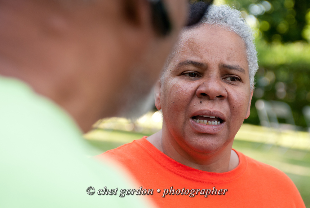 City of Newburgh Councilwoman Gay Lee during a family gathering at her Newburgh, NY home on Saturday, June 13, 2015. Lee has begun her campaign bid for mayor of Orange County's largest city against incumbent Mayor Judy Kennedy, and Jonathan Jacobson, the former Newburgh Democratic Committee Chairman.  © Chet Gordon • Photographer