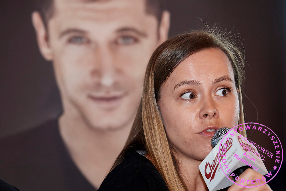 Warsaw, Poland - 2018 May 10: Maria Ptak &quot;Go &amp; Active Show&quot; Meneger speaks while Special Olympics Press Conference at Marriott Champions Sport Bar on May 10, 2018 in Warsaw, Poland.<br /> <br /> Adam Nurkiewicz declares that he has no rights to the image of people at the photographs of his authorship.<br /> <br /> Picture also available in RAW (NEF) or TIFF format on special request.<br /> <br /> Any editorial, commercial or promotional use requires written permission from the author of image.<br /> <br /> Image can be used in the press when the method of use and the signature does not hurt people on the picture.<br /> <br /> Mandatory credit:<br /> Photo by &copy; Adam Nurkiewicz / Mediasport