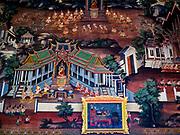 "11 SEPTEMBER 2017 - BANGKOK, THAILAND: A mural in the viharn (prayer hall) at Wat Arun. Renovations are nearly finished at Wat Arun on the Thonburi side of the Chao Phraya River in Bangkok. Wat Arun is famous for its Khmer style main ""prang"" (chedi). It was originally built in the Ayutthaya Period and rebuilt to its current form in the time of Rama II.      PHOTO BY JACK KURTZ"