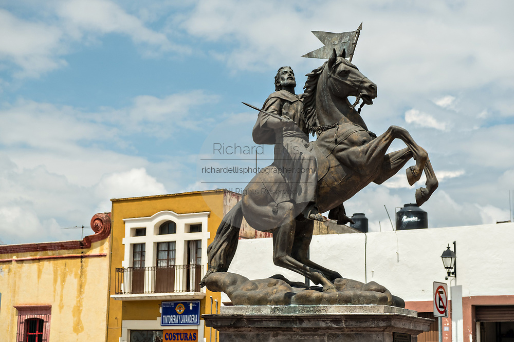 Saint James on horseback or Ecuestre del Apostol Santiago el Mayori in the old colonial section of Santiago de Queretaro, Queretaro State, Mexico.