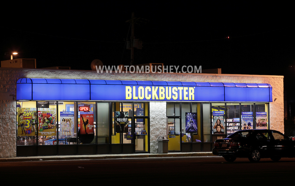 Town of Wallkill, New York - A Blockbuster video rental store at night on Nov. 14, 2010.