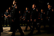 Firefighters walking out of Saint Patrick's Cathedral in new york after the 9/11 Memorial service today Sep 11 2006..
