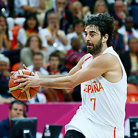06 August 2012: Spain Juan-Carlos Navarro fakes a pass during 88-82 Team Brazil victory over Team Spain, during the men's basketball preliminary, at the Basketball Arena, in London, Great Britain.