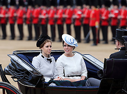 Princess's Beatrice and  Eugenie arriving at Trooping The Colour in London, Saturday, 15th June 2013 Picture by Stephen Lock / i-Images