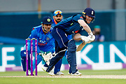 England ODI Captain & Batsman Eoin Morgan defends  during the 3rd Royal London ODI match between England and India at Headingley Stadium, Headingley, United Kingdom on 17 July 2018. Picture by Simon Davies.