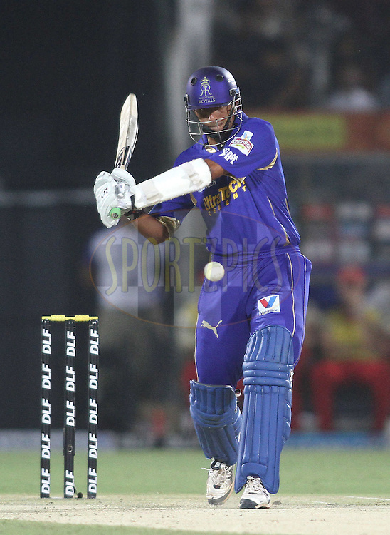 Rajasthan Royals captain Rahul Dravid attacks a delivery during match 30 of the the Indian Premier League (IPL) 2012  between The Rajasthan Royals and the Royal Challengers Bangalore held at the Sawai Mansingh Stadium in Jaipur on the 23rd April 2012..Photo by Shaun Roy/IPL/SPORTZPICS