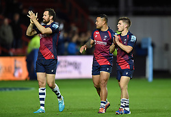 Luke Morahan, Alapati Leiua and Harry Randall of Bristol Bears acknowledge the crowd after the match - Mandatory byline: Patrick Khachfe/JMP - 07966 386802 - 18/10/2019 - RUGBY UNION - Ashton Gate Stadium - Bristol, England - Bristol Bears v Bath Rugby - Gallagher Premiership