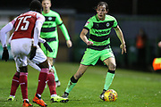Forest Green Rovers Theo Archibald(18) on the ball during the EFL Trophy group stage match between Forest Green Rovers and U21 Arsenal at the New Lawn, Forest Green, United Kingdom on 7 November 2018.