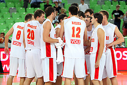 Team Montenegro at friendly match between Macedonia and Montenegro for Adecco Cup 2011 as part of exhibition games before European Championship Lithuania on August 9, 2011, in SRC Stozice, Ljubljana, Slovenia. (Photo by Urban Urbanc / Sportida)