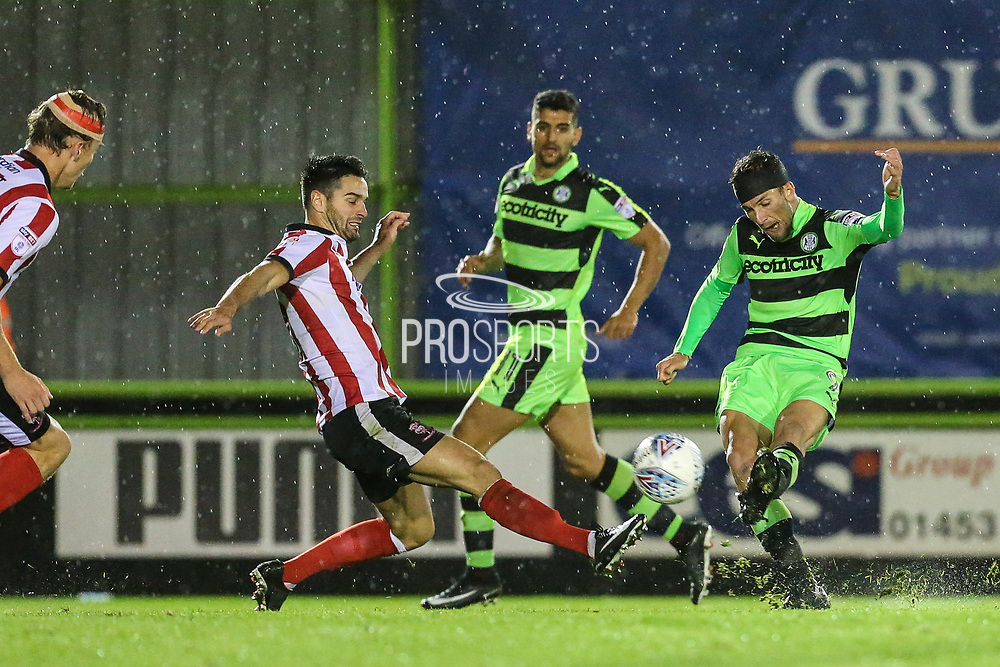 Forest Green Rovers Christian Doidge(9) shoots at goal during the EFL Sky Bet League 2 match between Forest Green Rovers and Lincoln City at the New Lawn, Forest Green, United Kingdom on 12 September 2017. Photo by Shane Healey.