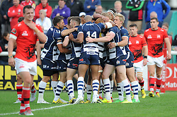 Bristol Rugby Outside Centre Jack Tovey celebrates his try with team mates - Mandatory byline: Dougie Allward/JMP - 07966 386802 - 13/09/2015 - RUGBY UNION - Old Deer Park - Richmond, London, England - London Welsh v Bristol Rugby - Greene King IPA Championship.
