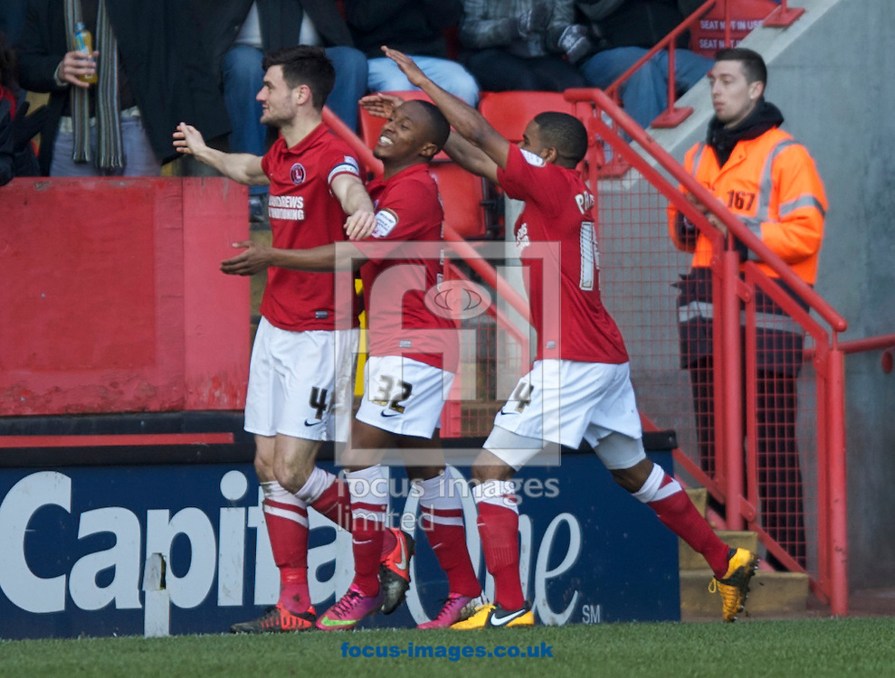 Picture by Alan Stanford/Focus Images Ltd +44 7915 056117.06/04/2013.Johnnie Jackson of Charlton Athletic celebrates after scoring with his team mates during the npower Championship match at The Valley, London.