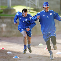 St Johnstone Training...02.02.07<br />Ex Falkirk player Andy Lawrie races against Allan McManus during training this morning before facing his old side in tomorrow's Scottish Cup tie<br />see story by Gordon Bannerman Tel: 01738 553978 or 07729 865788<br />Picture by Graeme Hart.<br />Copyright Perthshire Picture Agency<br />Tel: 01738 623350  Mobile: 07990 594431