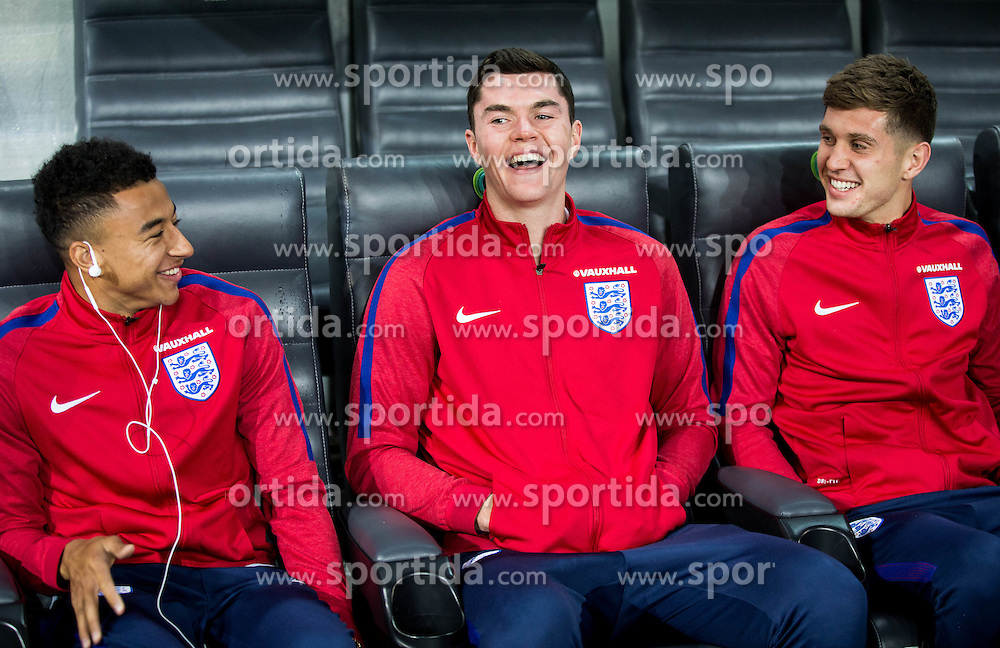 Jesse Lingard, Michael Keane and John Stones during pitch check of Team England 1 day before football match between National teams of Slovenia and England in Round #3 of FIFA World Cup Russia 2018 qualifications in Group F, on October 10, 2016 in SRC Stozice, Ljubljana, Slovenia. Photo by Vid Ponikvar / Sportida
