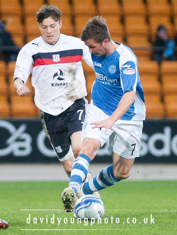 St Johnstone's Chris Millar and Dundee's Nicky Riley  - St Johnstone v Dundee, Clydesdale Bank Scottish Premier League at McDiarmid Park, Dundee.. - © David Young - www.davidyoungphoto.co.uk - email: davidyoungphoto@gmail.com