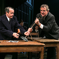 An Enemy of the People by Henrik Ibsen;<br /> Directed by Howard Davies;<br /> Hugh Bonneville as Dr Tomas Stockmann;<br /> Jonathan Cullen as Aslaksen;<br /> Chichester Festival Theatre, Chichester, UK;<br /> 29 April 2016