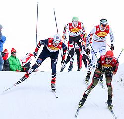 17.12.2016, Nordische Arena, Ramsau, AUT, FIS Weltcup Nordische Kombination, Langlauf, im Bild eine Gruppe von Athleten mit Franz-Josef Rehrl (AUT), Startnummer 13 // Franz-Josef Rehrl of Austria, BIB 13, and a group of athletes during Cross Country Competition of FIS Nordic Combined World Cup, at the Nordic Arena in Ramsau, Austria on 2016/12/17. EXPA Pictures © 2016, PhotoCredit: EXPA/ Martin Huber
