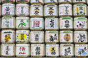 Sake barrels or kazaridaru on display at Meiji Shrine. The barrels are donated to the shirne from Japan's 1800 sake manufacturers.