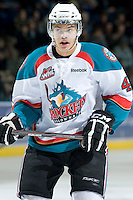 KELOWNA, CANADA, JANUARY 25: Madison Bowey #4 of the Kelowna Rockets skates on the ice as the Kamloops Blazers visit the Kelowna Rockets on January 25, 2012 at Prospera Place in Kelowna, British Columbia, Canada (Photo by Marissa Baecker/Getty Images) *** Local Caption ***