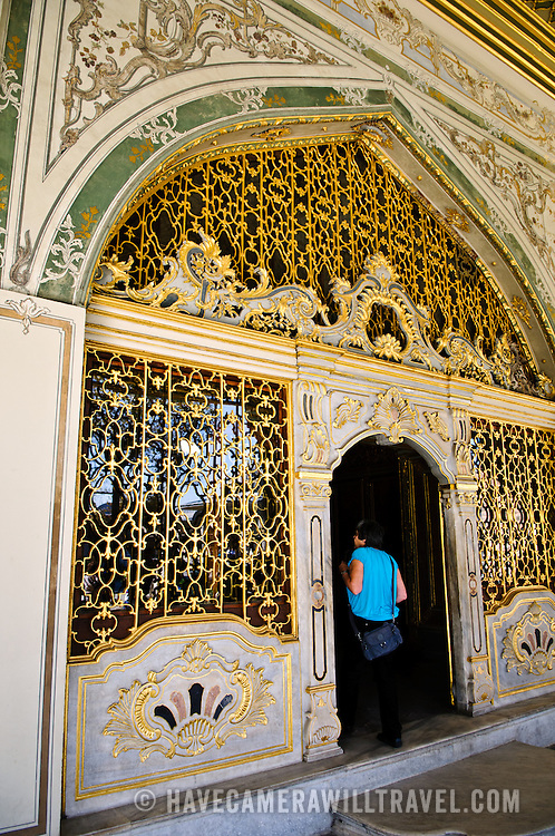 """Ornate decorations of the Imperial Council building (in Turkish: Dîvân-ı Hümâyûn) inside the Topkapi Palace in Istanbul. This was the chamber in which the ministers of state, council ministers (Dîvân Heyeti), the Imperial Council, consisting of the Grand Vizier (Paşa Kapısı), viziers, and other leading officials of the Ottoman state, held meetings. It is also called Kubbealtı, which means """"under the dome"""", in reference to the dome in the council main hall. It is situated in the northwestern corner of the courtyard next to the Gate of Felicity."""