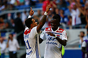 Goal Depay Memphis of Lyon and Traore Bertrand of Lyon during the French championship L1 football match between Olympique Lyonnais and Amiens on August 12th, 2018 at Groupama stadium in Decines Charpieu near Lyon, France - Photo Romain Biard / Isports / ProSportsImages / DPPI