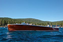 """Flagship on Lake Tahoe"" - This classic wooden Gar Wood boat called the Flagship was photographed on Lake Tahoe during the 2011 Concours d'Elegance."