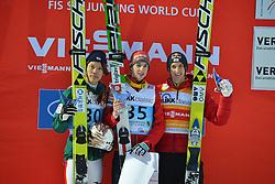13.02.2013, Vogtland Arena, Kingenthal, GER, FIS Ski Sprung Weltcup, im Bild Jaka HVALA (SLO), Sieger des Springens (Mitte), Taku TAKEUCHI (JPN, li. Zweitplazierte) und Gregor SCHLIERENZAUER (AUT, re., der den dritten Platz belegte) // during the FIS Skijumping Worldcup at the Vogtland Arena, Kingenthal, Germany on 2013/02/13. EXPA Pictures © 2013, PhotoCredit: EXPA/ Eibner/ Bert Harzer..***** ATTENTION - OUT OF GER *****