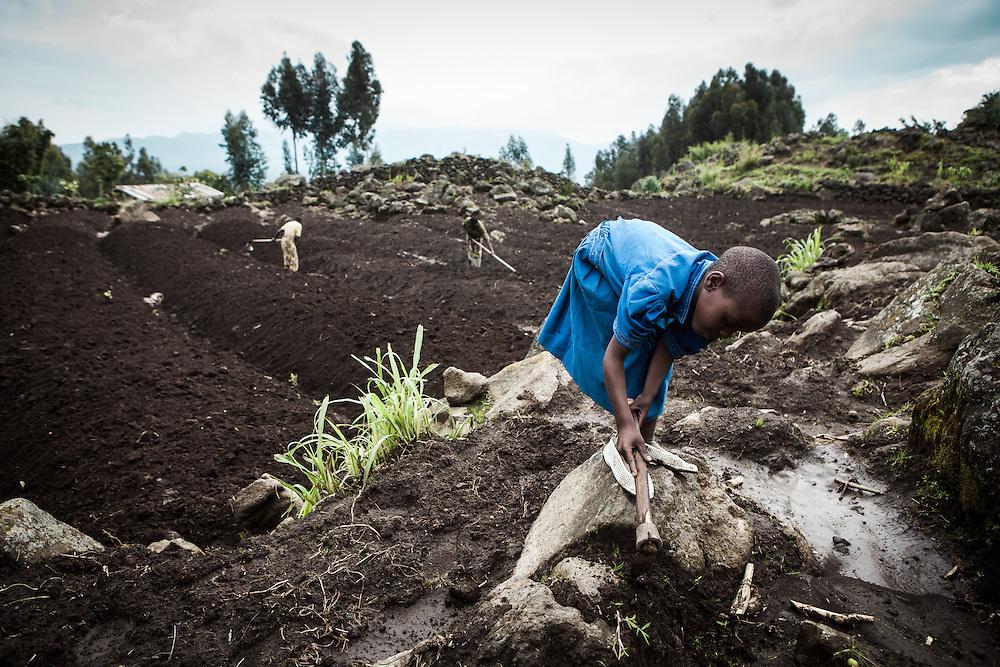 Sandrine digs up weeds. Shingiro District, Rwanda