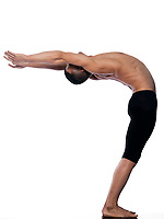 caucasian man gymnastic stretching balance isolated studio on white background