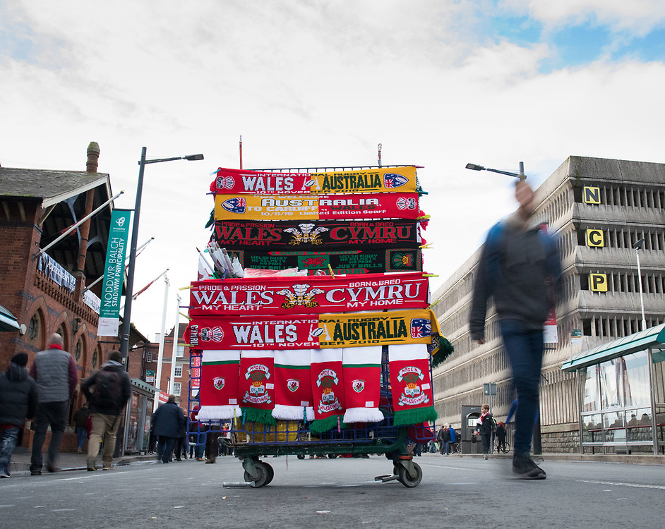 A flag vendors stall outside the stadium<br /> <br /> Photographer Simon King/Replay Images<br /> <br /> Under Armour Series - Wales v Australia - Saturday 10th November 2018 - Principality Stadium - Cardiff<br /> <br /> World Copyright © Replay Images . All rights reserved. info@replayimages.co.uk - http://replayimages.co.uk