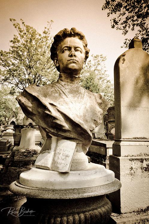 Bust on a grave at Père Lachaise Cemetery, Paris, France