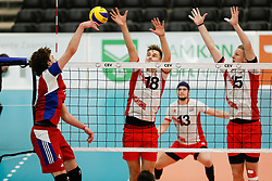 20170525 NED: 2018 FIVB Volleyball World Championship qualification, Koog aan de Zaan<br />Kamil Rychlicki (4) of Luxembourg, Paul Buchegger (18) of Austria, Nicolai Grabmuller (15) of Austria<br />©2017-FotoHoogendoorn.nl / Pim Waslander