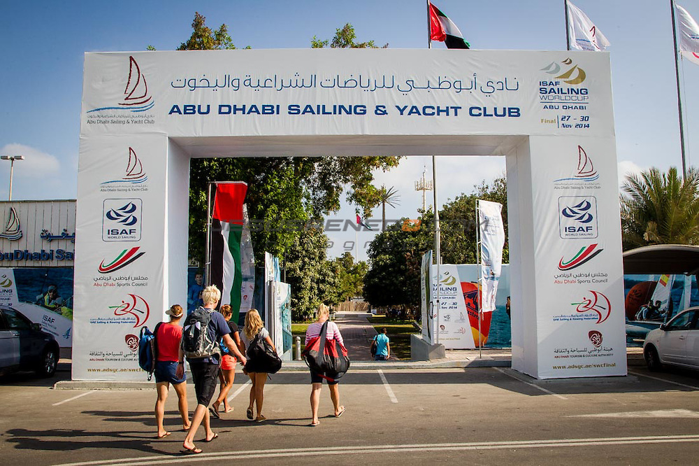 2014 ISAF Sailing World Cup Final, Abu Dhabi, United Arab Emirate.27TH NOVEMBER 2014 day 2 of racing. All ten Olympic sailing events are being contested in Abu Dhabi from with an open kiteboarding event joining the fray around Lulu Island off the UAE capital's stunning Corniche. Prize money will be awarded to the top three overall finishers in each of the Olympic events from a total prize purse of US$200,000. The Abu Dhabi Sailing and Yacht Club is the host of the ISAF Sailing World Cup Final with some technical facilities located at the adjacent Abu Dhabi International Marine Sports Club. The venue is located on the main island of the city with immediate access to the beautiful waters of the Arabian Gulf.