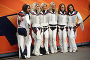 A group of Denver Broncos cheerleaders line up for a photo while wearing their chaps outfits during the Denver Broncos NFL week 19 AFC Divisional Playoff football game against the Indianapolis Colts on Sunday, Jan. 11, 2015 in Denver. The Colts won the game 24-13. ©Paul Anthony Spinelli