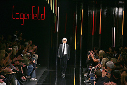 A model displays a creation by German fashion designer Karl Lagerfeld for Lagerfeld Gallery's Spring-Summer 2006 ready-to-wear collection presentation held at the Carrousel du Louvre in Paris, France, on October 5, 2005. Photo by Java/ABACAPRESS.COM