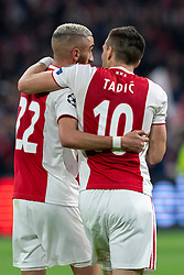 08-05-2019 NED: Semi Final Champions League AFC Ajax - Tottenham Hotspur, Amsterdam<br /> After a dramatic ending, Ajax has not been able to reach the final of the Champions League. In the final second Tottenham Hotspur scored 3-2 / Hakim Ziyech #22 of Ajax, Dusan Tadic #10 of Ajax