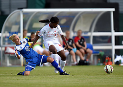 Sophie Ingle of Bristol Academy Women tackles Satara Murray of Liverpool Ladies - Mandatory by-line: Paul Knight/JMP - Mobile: 07966 386802 - 13/09/2015 -  FOOTBALL - Stoke Gifford Stadium - Bristol, England -  Bristol Academy Women v Liverpool Ladies FC - FA WSL Continental Tyres Cup