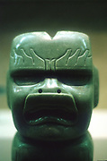 Pre-Columbian: Meso-America. Olmec 1150-800 BC. Carved jade head (of dragon?)