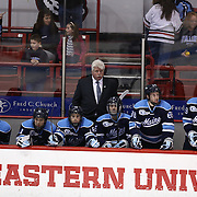 Head Coach Red Gendron of the Maine Black Bears is seen on the bench during the game at Matthews Arena on February 22, 2014 in Boston, Massachusetts. (Photo by Elan Kawesch)