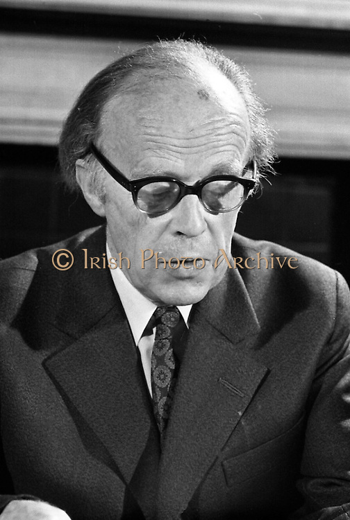 Erskine Childers Press Conference..1973..31.05.1973..05.31.1973..31st May 1973..At a press conference at Fianna Fail headquarters, Mr Erskine Childers, was confirmed as the winner of the presidential campaign. He won by a margin of 52% to 48% beating the favourite Tom O'Higgins,Fine Gael..A portrait of President Elect,Mr Erskine Childers,at his press conference.