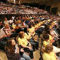 Tupelo Public School DIstrict teachers and staff members fill the Performing Arts Center at Tupelo High School for the district's end of the year convocation Thursday morning.