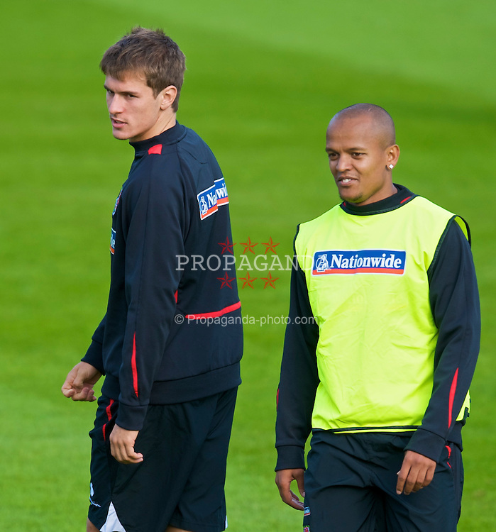 CARDIFF, WALES - Sunday, September 6, 2009: Wales' Robert Earnshaw and Aaron Ramsey training at the Vale of Glamorgan Hotel ahead of the FIFA World Cup Qualifying Group 3 match against Russia. (Pic by David Rawcliffe/Propaganda)