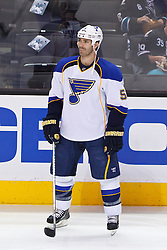 April 16, 2012; San Jose, CA, USA; St. Louis Blues defenseman Barret Jackman (5) warms up before game three of the 2012 Western Conference quarterfinals against the San Jose Sharks at HP Pavilion.  St. Louis defeated San Jose 4-3. Mandatory Credit: Jason O. Watson-US PRESSWIRE