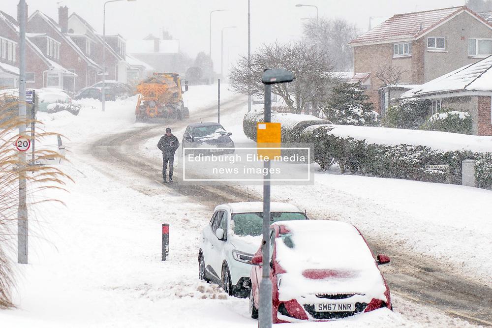 The Beast From the East, Dunfermline, 01/03/2018<br />A snow plough travels through Pitcorthie, Dunfermline<br />(c)Craig Brown  Edinburgh Elite media