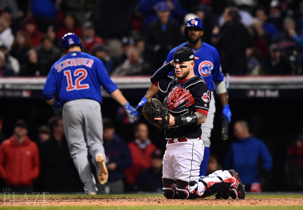 Oct 26, 2016; Cleveland, OH, USA; Cleveland Indians catcher Roberto Perez reacts after Chicago Cubs player Kyle Schwarber (12) scores on a bases loaded walk in the 5th inning in game two of the 2016 World Series at Progressive Field. Mandatory Credit: Ken Blaze-USA TODAY Sports