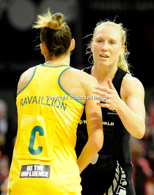 After Match Laura Langman and Kim Ravaillion of the Diamonds. Constellation cup netball. Silver Ferns v Australian Diamonds at ILT Velodrome, Invercargill, New Zealand. Sunday 15th september 2013. New Zealand. Photo: Richard Hood/photosport.co.nz