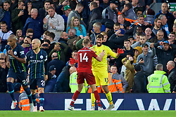 LIVERPOOL, ENGLAND - Sunday, October 7, 2018: Liverpool's goalkeeper Alisson Becker reacts after Manchester City miss a penalty during the FA Premier League match between Liverpool FC and Manchester City FC at Anfield. (Pic by David Rawcliffe/Propaganda)
