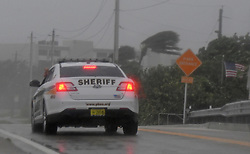 A Palm Beach Sheriff's Office deputy patrols Boynton Beach Inlet Park as Hurricane Irma arrives on Sunday, September 10, 2017. Photo by Jim Rassol/Sun Sentinel/TNS/ABACAPRESS.COM