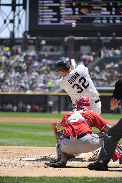CHICAGO, IL - JUNE 26:  Adam Dunn #32 of the Chicago White Sox bats against the Washington Nationals on June 26, 2011 at U.S. Cellular Field in Chicago, Illinois.  The Nationals defeated the White Sox 2-1.  (Photo by Ron Vesely/MLB Photos via Getty Images)  *** Local Caption *** Adam Dunn