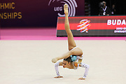 Alexandra Soldatova, Russia, wins silver on ball at the 33rd European Rhythmic Gymnastics Championships at Papp Laszlo Budapest Sports Arena, Budapest, Hungary on 21 May 2017. Photo by Myriam Cawston.
